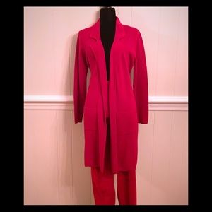 NWT- Red Knit Pantsuit w/ Duster & Wide Leg Pants